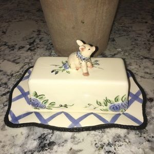 "Blue Sky ""piggy"" butter dish"